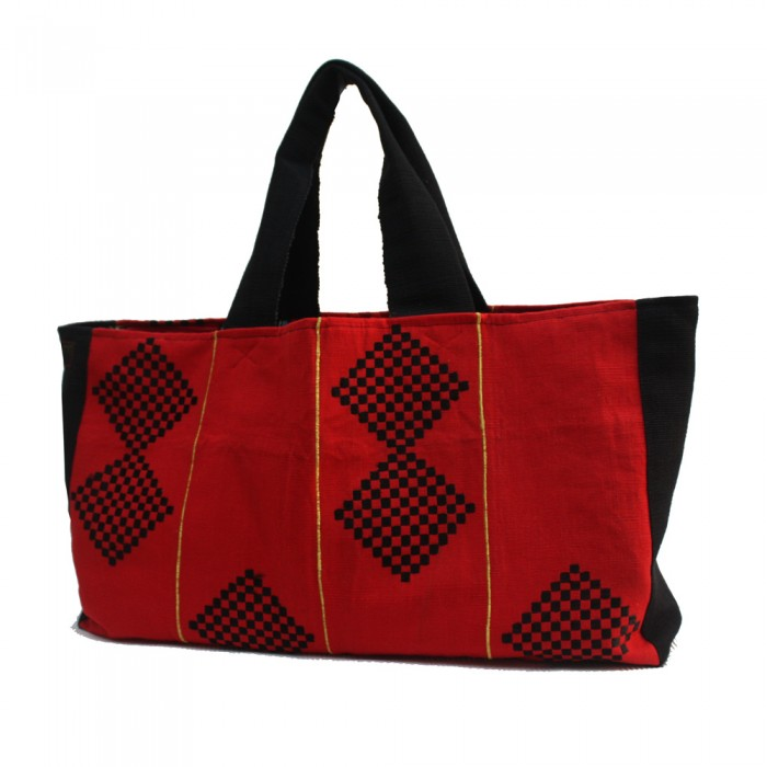 Red and Black Aso Oke Tommy Tote