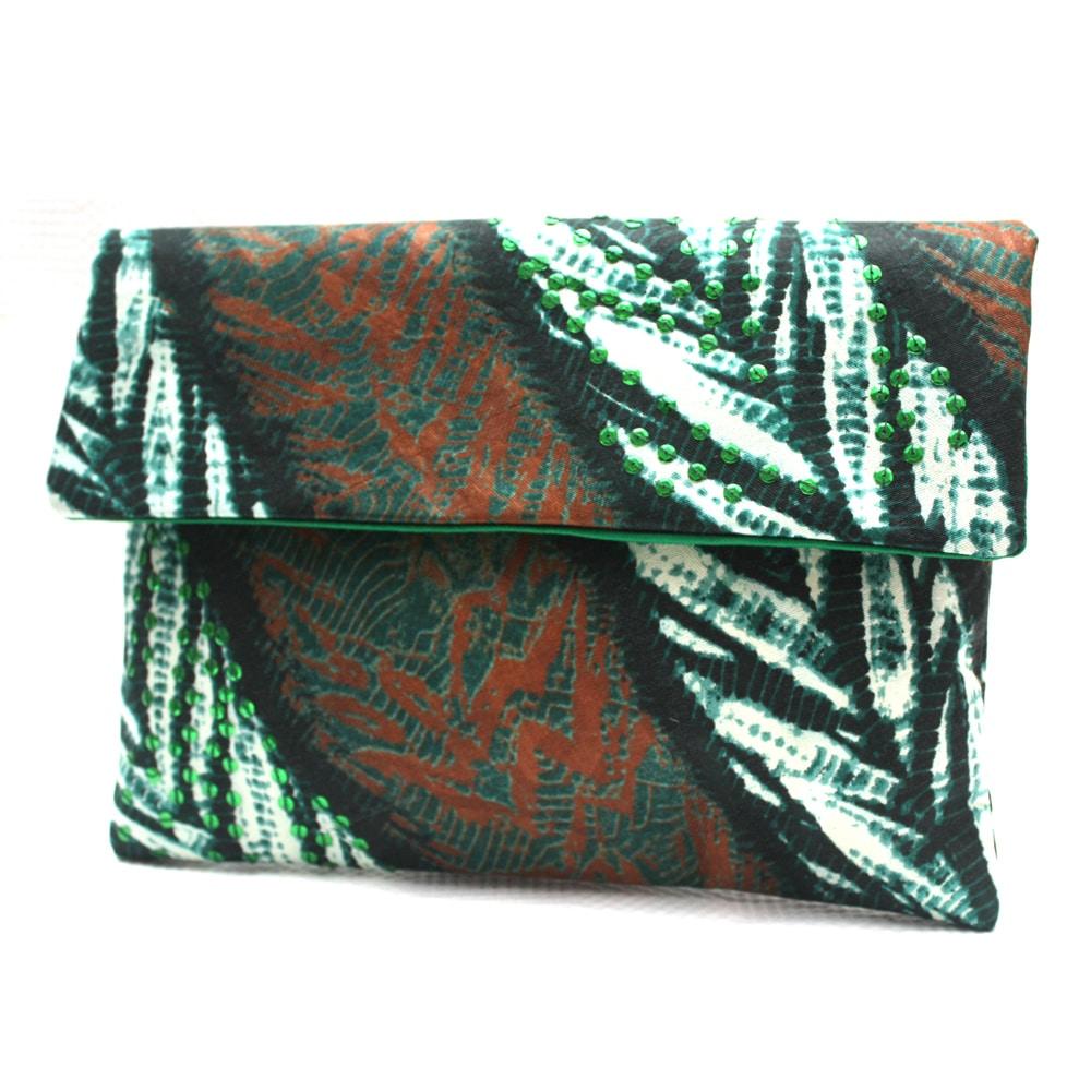 Emerald Leaves Batik Listra Clutch