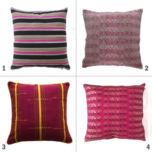 Pink Aso Oke Cushions
