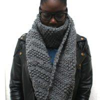 Chunky Knit Grey Scarf