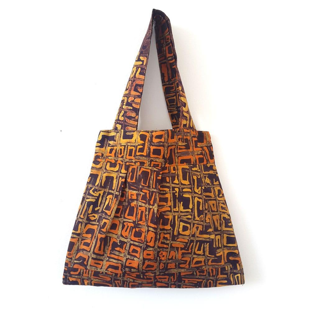 Brown and Orange Batik Bee Bag