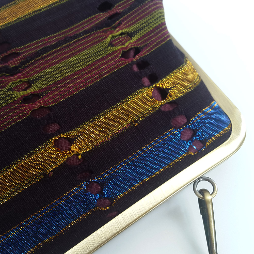 Aso oke clutch close up