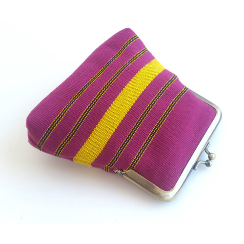 Pink and Yellow Aso-oke pouch