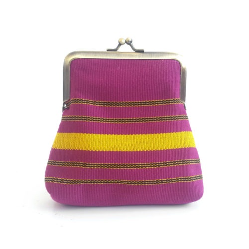 Aso Oke Pico Pouch in pink and yellow