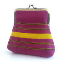 Pink and Yellow Aso-oke Pico pouch