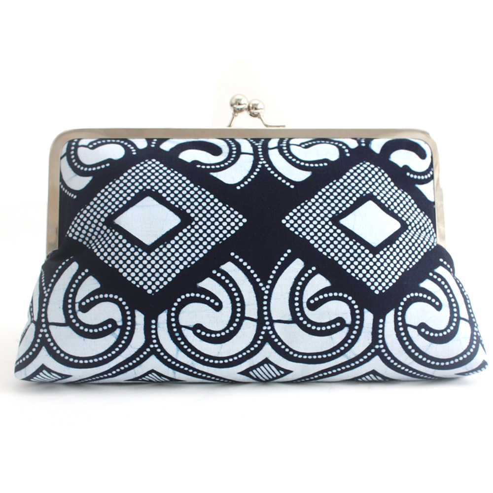 Blue Ankara print clutch