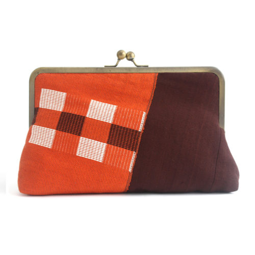 Orange and Brown Clutch in Aso-oke