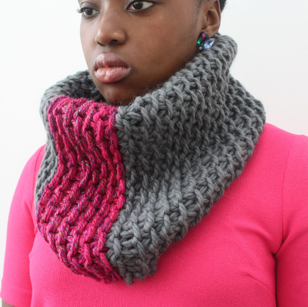 Pink and Grey Wool Snood scarf