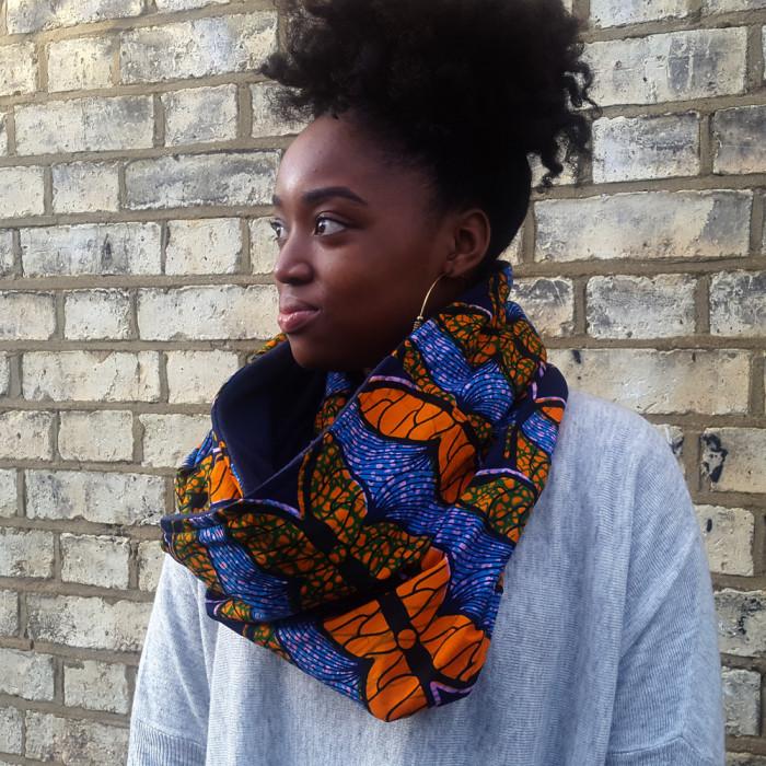 African print snood scarf