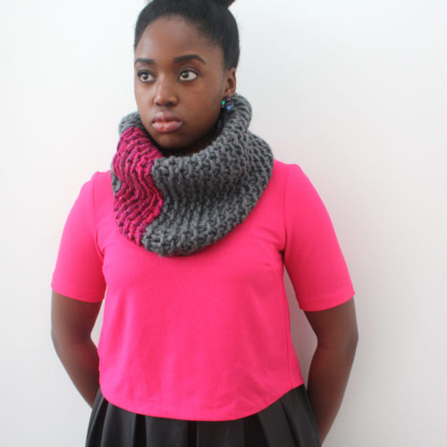 Pink and Grey Wool Snood