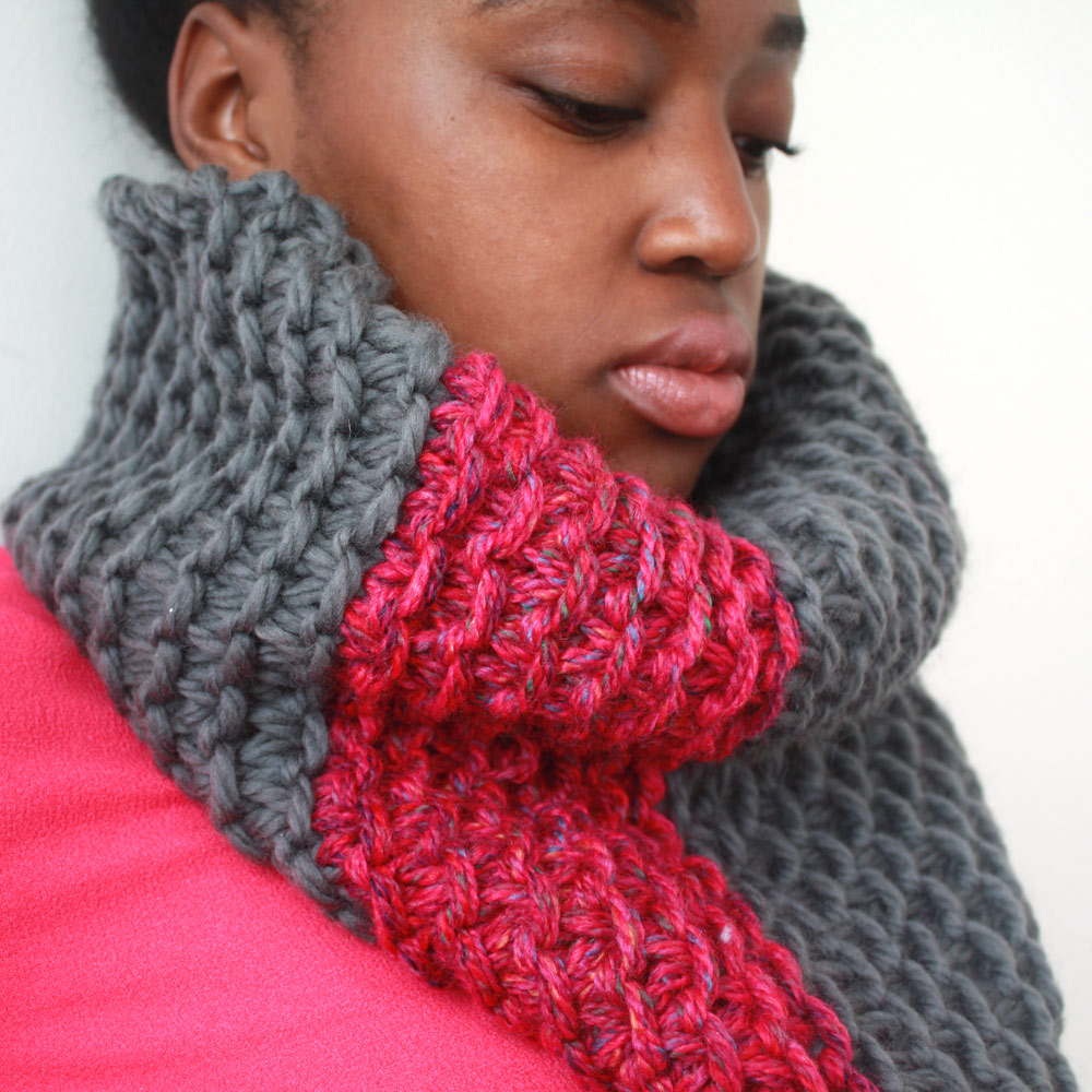 Pink and Grey Snood scarf