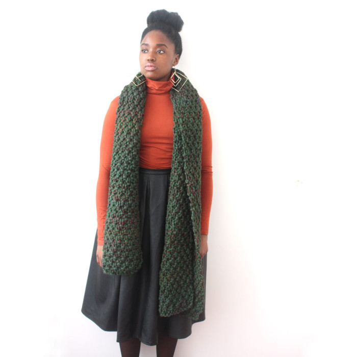 Green Chunky knit scarf