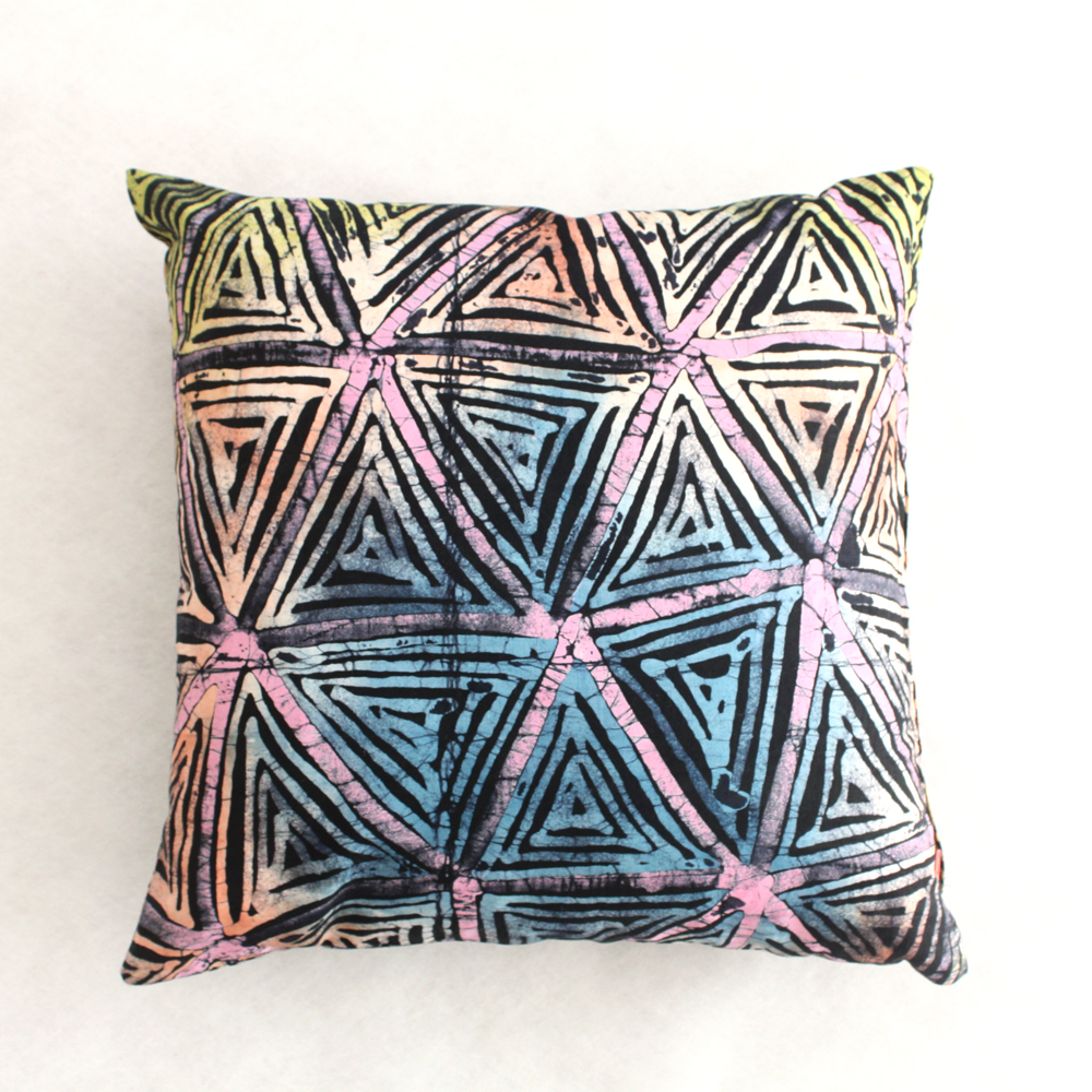 Famous Colourful Batik cushion with pink flashes | Urbanknit YX54