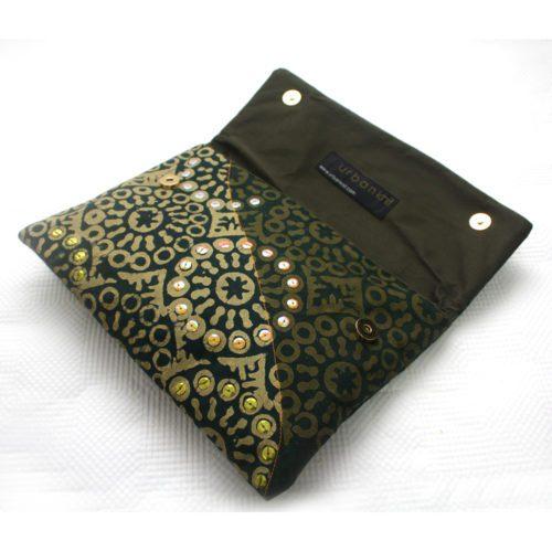 Green Adire clutch