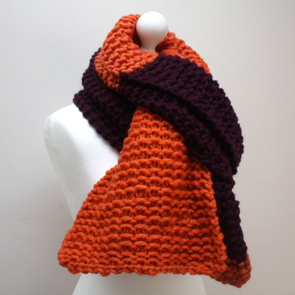 Orange and Purple Wool Scarf