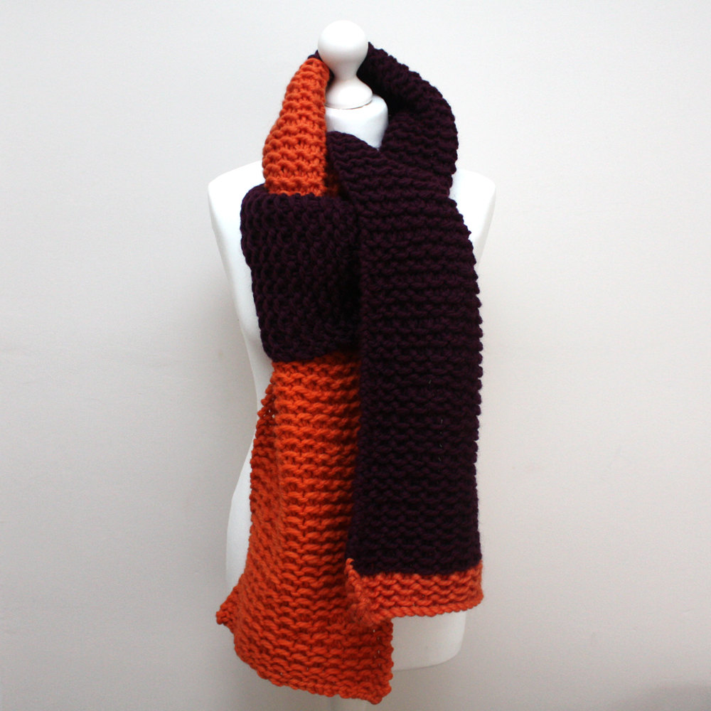 Orange and Purple Chunky Knit Scarf from Urbanknit