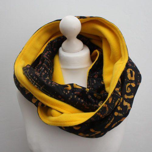 Brown and Yellow Batik Snood Scarf