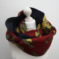 Dark Red Ankara Snood Scarf