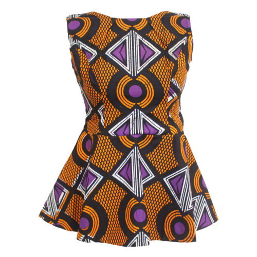 Orange Ankara Peplum Top