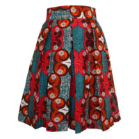 Turquoise and Pink Pleated Ankara Skirt